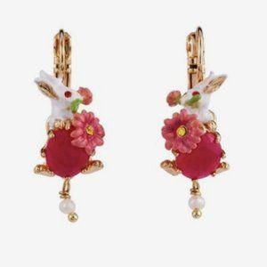 Les Nereides fantasy garden rabbit earrings
